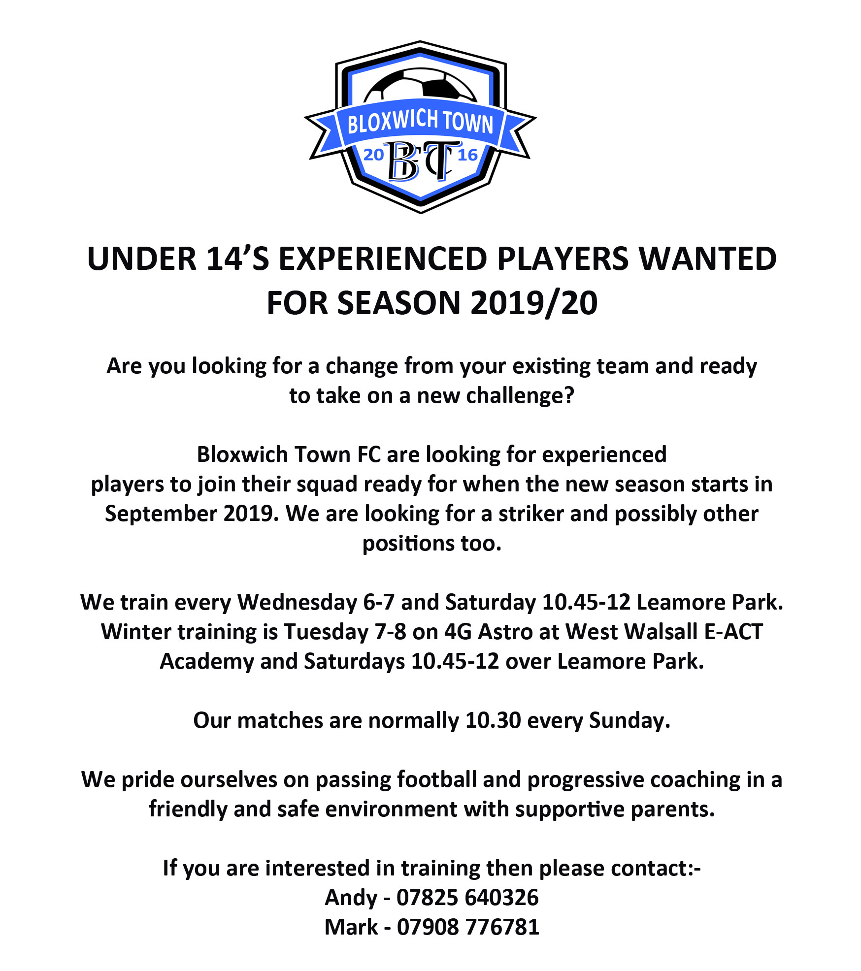 3cd4047c4 Under 13's Notices | Walsall Junior Youth League